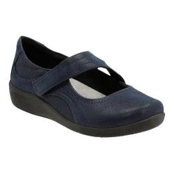 Women's Clarks Sillian Bella Mary Jane Navy Synthetic Nubuck