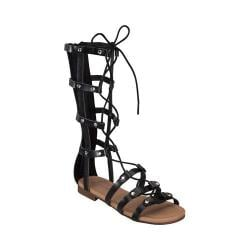 Girls' Wild Diva Alyssa-16K-FE Gladiator Sandal Black Faux Leather