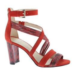 Women's Nine West Norita Strappy Sandal Red Leather/Suede