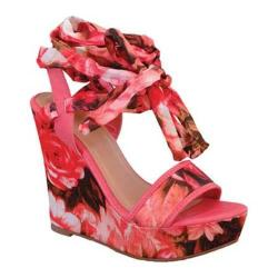 Women's Beston Alessa-05 Ankle Strap Wedge Sandal Red Faux Leather