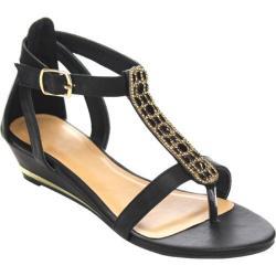 Women's Beston Anna-02B T Strap Sandal Black Faux Leather