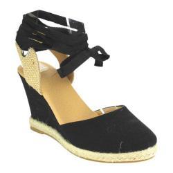 Women's Beston Emma-8 Wedge Sandal Black Fabric