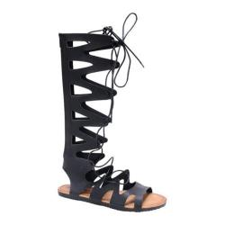 Women's Beston Foxy-01 Gladiator Sandal Black Faux Leather