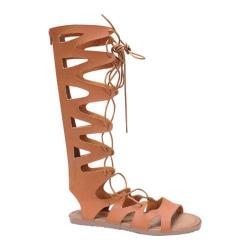 Women's Beston Foxy-01 Gladiator Sandal Tan Faux Leather