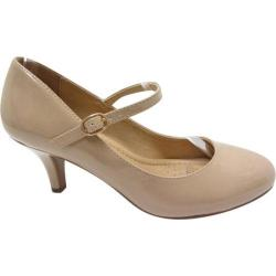 Women's Beston Kirk-H Mary Jane Dark Beige Patent Faux Leather