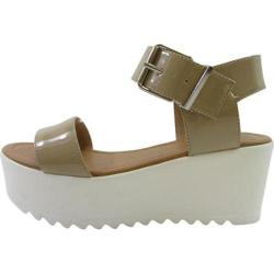 Women's Beston Magali-FD Platform Sandal Dark Beige Patent Faux Leather
