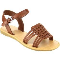 Girls' Beston Maggie-IIS Ankle Strap Sandal Tan Faux Leather