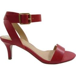 Women's Beston Sunbird-S Ankle Strap Sandal Red Faux Leather