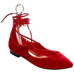 Women's Beston Tempo-03 Lace Up Flat Red Faux Suede