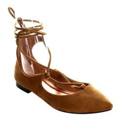 Women's Beston Tempo-03 Lace Up Flat Tan Faux Suede