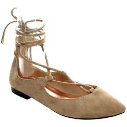 Women's Beston Tempo-03 Lace Up Flat Taupe Faux Suede