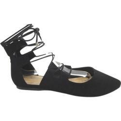 Women's Beston Tripod-S Ankle Strap Flat Black Nubuck Faux Leather/Faux Leather