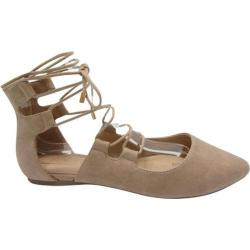 Women's Beston Tripod-S Ankle Strap Flat Camel Nubuck Faux Leather/Faux Leather