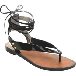 Women's Beston Wonder-01 Ankle Strap Thong Sandal Black PVC
