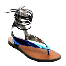 Women's Beston Wonder-01 Ankle Strap Thong Sandal Blue PVC