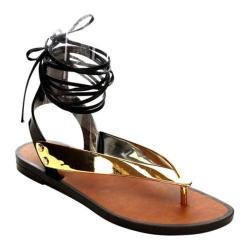 Women's Beston Wonder-01 Ankle Strap Thong Sandal Gold PVC
