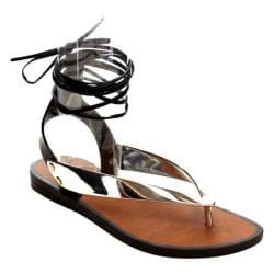 Women's Beston Wonder-01 Ankle Strap Thong Sandal Silver PVC