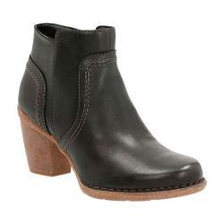 Women's Clarks Carleta Paris Ankle Bootie Black Cow Full Grain Leather
