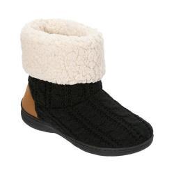 Women's Dearfoams Cable Knit Boot Slipper with Memory Foam Black