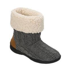 Women's Dearfoams Cable Knit Boot Slipper with Memory Foam Dark Heather Grey