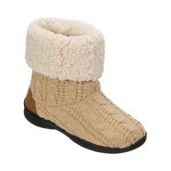 Women's Dearfoams Cable Knit Boot Slipper with Memory Foam Oatmeal Heather