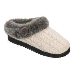 Women's Dearfoams Cable Knit Clog Slipper with Memory Foam Muslin