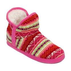 Women's Dearfoams Fairisle Bootie Slipper with Memory Foam Bright Combo