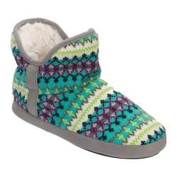 Women's Dearfoams Fairisle Bootie Slipper with Memory Foam Cool Combo