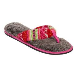 Women's Dearfoams Fairsle Thong Slipper with Memory Foam Bright Combo