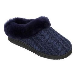 Women's Dearfoams Marled Cable Knit Clog Slipper with Memory Foam Peacoat
