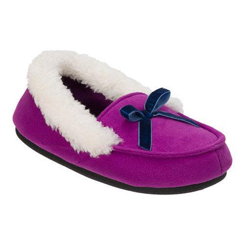 8111cc63f Shop Girls' Dearfoams Microsuede Moccasin Slipper Purple Passion - Free  Shipping On Orders Over $45 - Overstock - 12446113