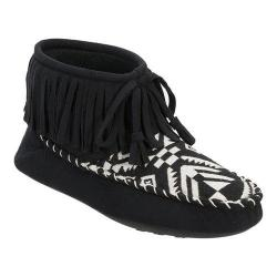 Women's Dearfoams Microsuede Fringe Bootie Slipper with Memory Foam Black