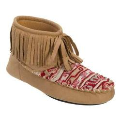 Women's Dearfoams Microsuede Fringe Bootie Slipper with Memory Foam Desert