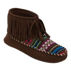 Women's Dearfoams Microsuede Fringe Bootie Slipper with Memory Foam Espresso