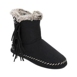 Women's Dearfoams Microsuede Fringe Bootie with Memory Foam Black