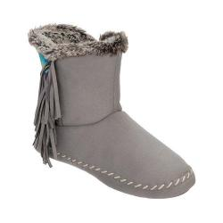 Women's Dearfoams Microsuede Fringe Bootie with Memory Foam Medium Grey