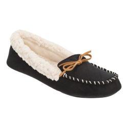 Women's Dearfoams Microsuede Moccasin Bow Slipper with Memory Foam Black