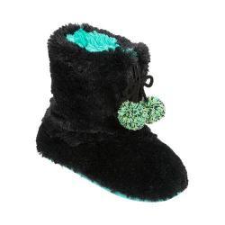 Women's Dearfoams Pile Boot Slipper with Zipper and Memory Foam Black