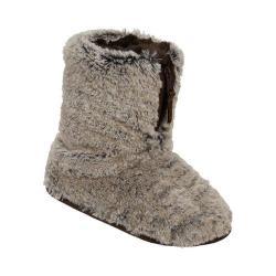 Women's Dearfoams Pile Boot Slipper with Zipper and Memory Foam Brown Frost