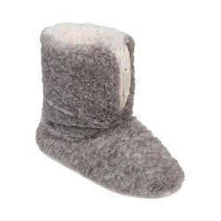 Women's Dearfoams Pile Boot Slipper with Zipper and Memory Foam Grey Frost