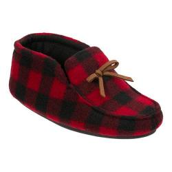 Boys' Dearfoams Plaid Bootie Slipper with Tie Red Plaid