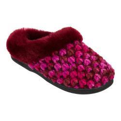 Women's Dearfoams Popcorn Knit Clog Slipper with Memory Foam Cabernet