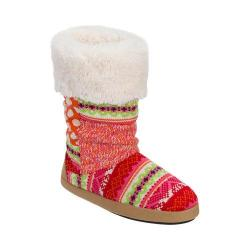 Women's Dearfoams Tall Patchwork Boot Slipper with Memory Foam Bright Combo