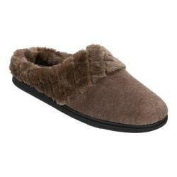 Women's Dearfoams Velour Clog Slipper with Memory Foam French Taupe Heather