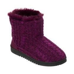 Women's Dearfoams Marled Cable Knit Boot Slipper with Memory Foam Aubergine