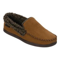 Men's Dearfoams Microsuede Moc Slipper with Memory Foam Chestnut