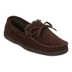 Men's Dearfoams Microsuede Trapper Moc Slipper with Memory Foam Coffee