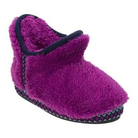 Girls' Dearfoams Pile Bootie Slipper with Fairisle Trim Purple Passion