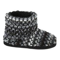 Women's Dearfoams Popcorn Knit Bootie Slipper with Memory Foam Black