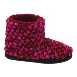 Women's Dearfoams Popcorn Knit Bootie Slipper with Memory Foam Cabernet